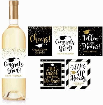 graduation decoration wine bottle labels
