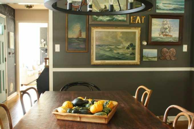 #EclecticallyFall Gourd centerpiece nautical gallery wall