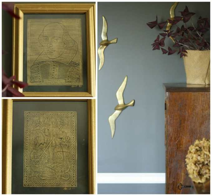 #EclecticallyFall Gold Art and Gold Birds as dining room art