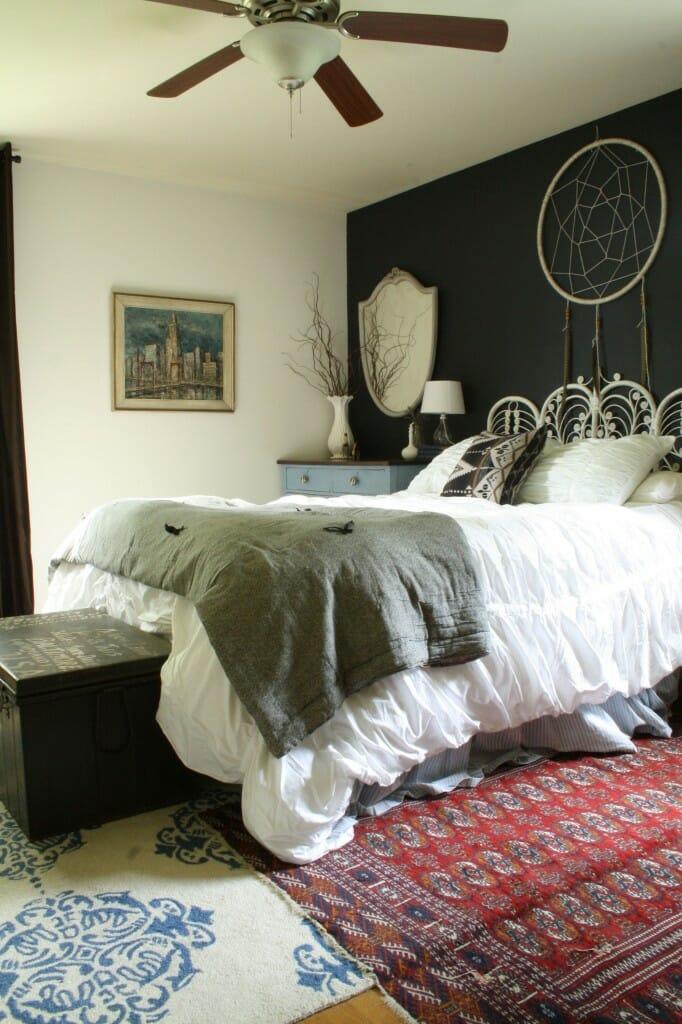 moody boho bedroom with DIY dreamcatcher
