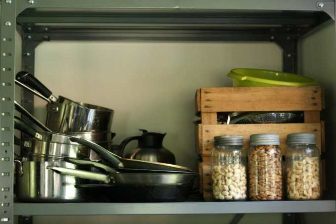 industrial shelf for kitchen organization