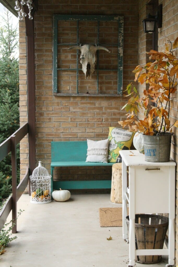 Fall Porch with natural touches, and bull skull on window frame