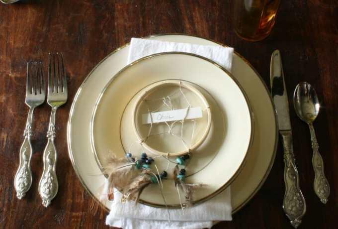 lennox platinum dishes, peacock silverware, DIY dreamcatcher placecard