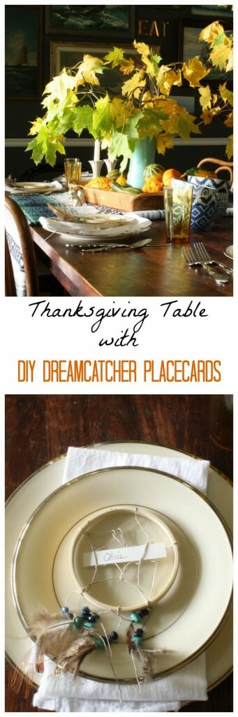 Thanksgiving table with DIY dreamcatcher placecards