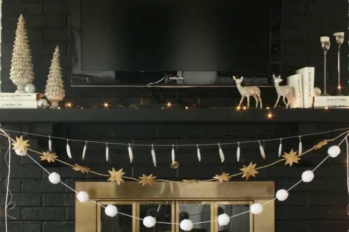 black and white and sparkling holiday mantle
