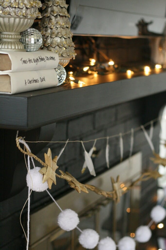 black white and sparkling holiday mantle