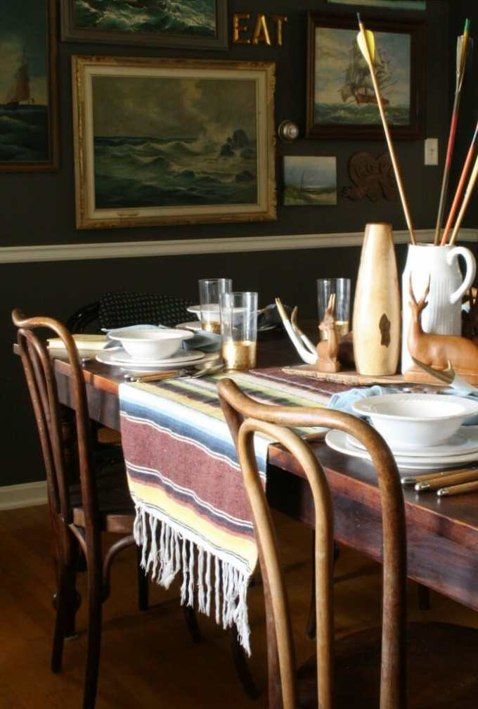 thanksgiving table with mexican blanket and arrows