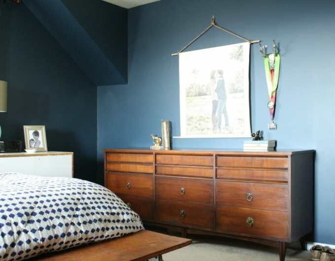 java gel midcentury dresser in  navy bedroom