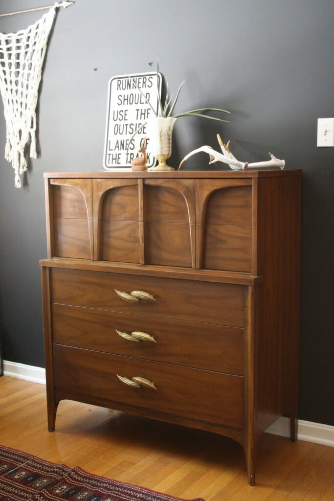 Bohemian Modern Dresser with Gold Feather Pulls