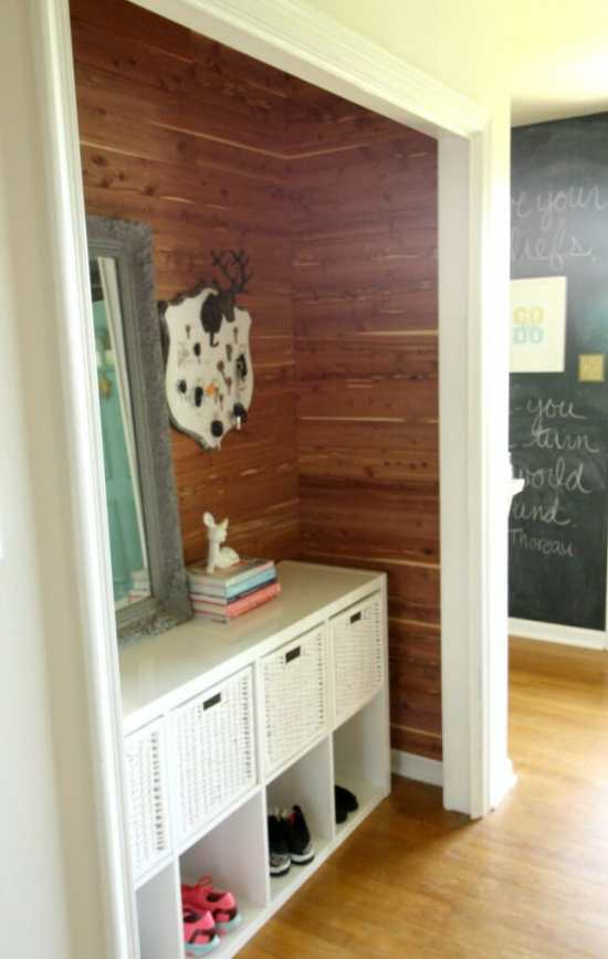DIY Cedar planked closet mudroom