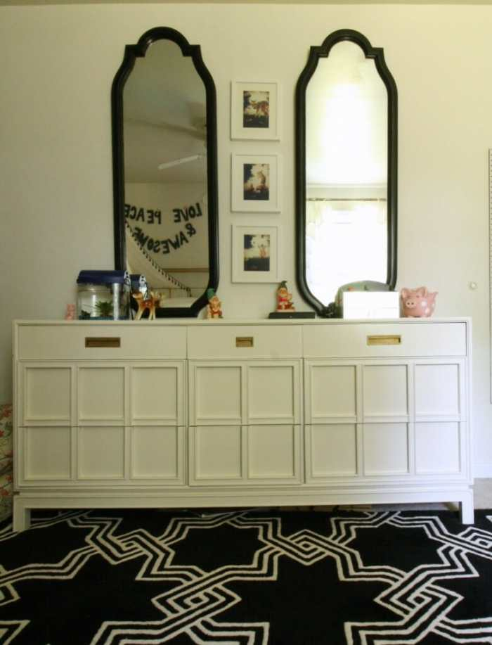 Midcentury Dresser in White with black mirrors