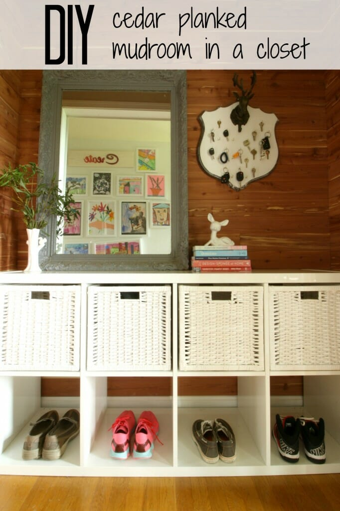 DIY Cedar Planked mudroom in a closet
