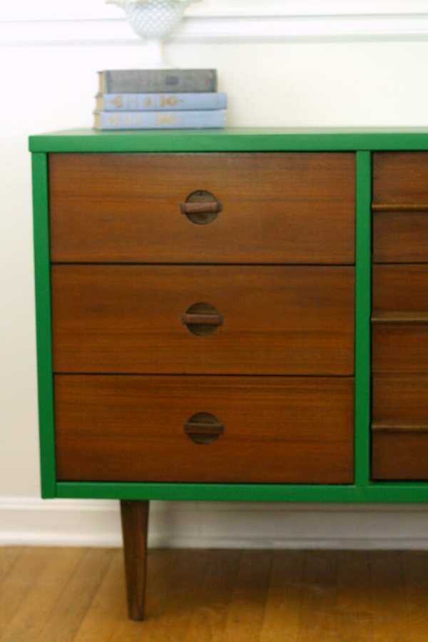 Wood and Emerald Midcentury Dresser