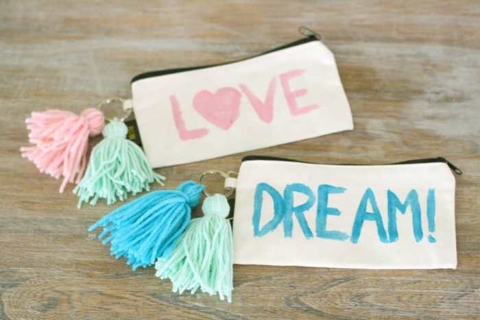 DIY painted and tassel adorned pencil pouches