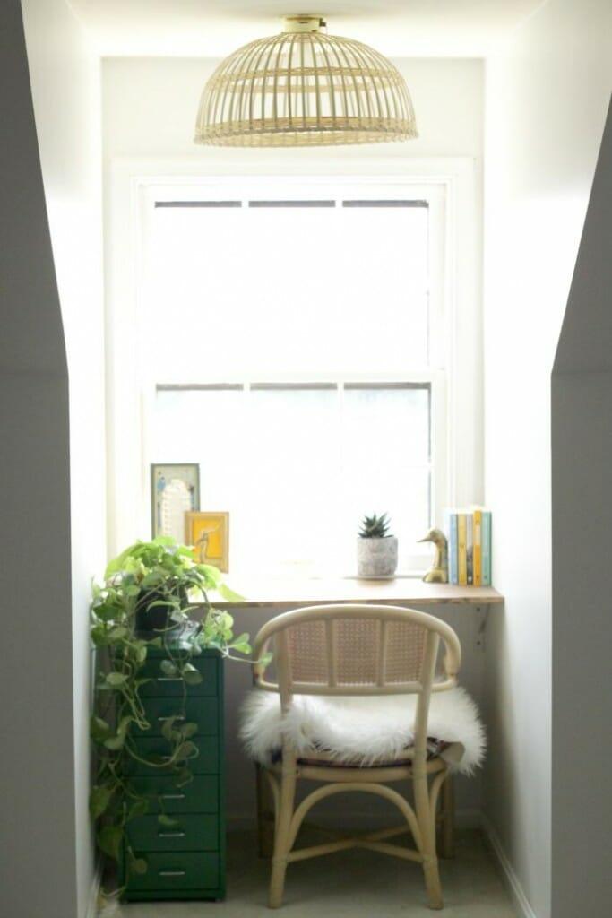DIY Floating Desk Nook with Ikea Hack Light fixture