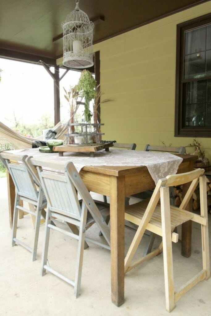 Fall porch dining table