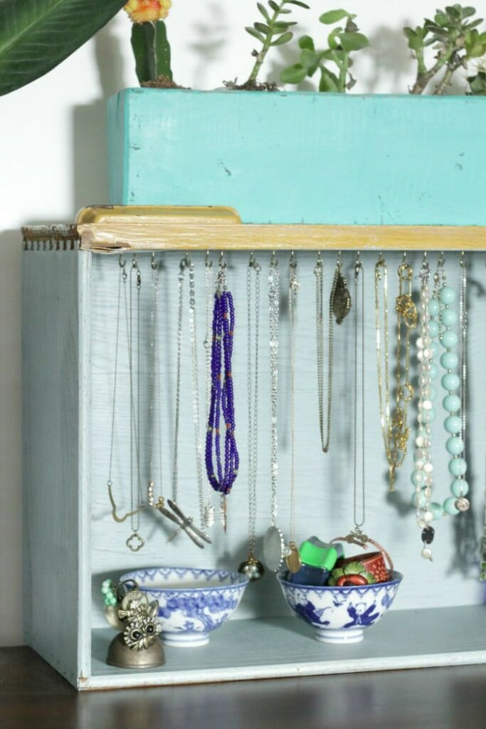 upcycled drawer jewelry organizer