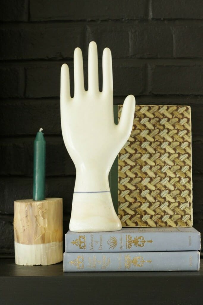 Vintage Glove Form and Books on Eclectic Fall Mantle