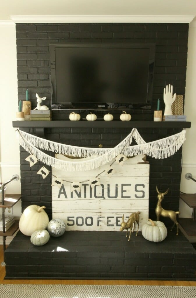 Black and White Fall & Halloween Mantle with bat banner