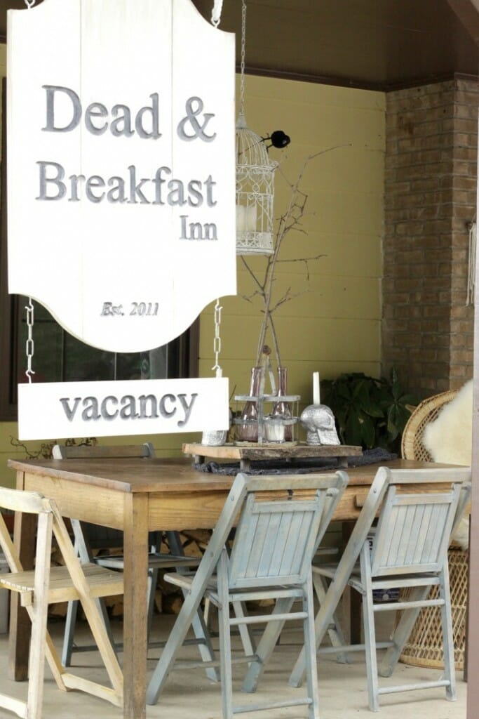 Dead & Breakfast Sign on porch
