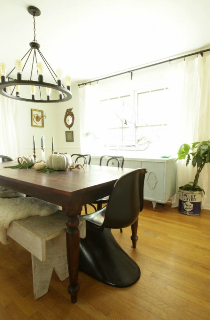 White Rustic & Vintage Dining Room with Soft Blues & Black Accents 5