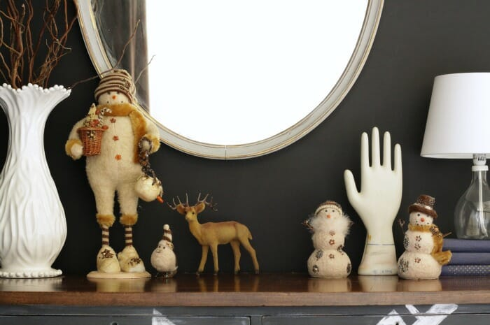 Vintage inspired snowman collection with vintage flocked deer