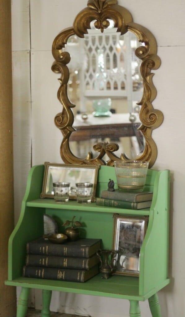 Green book shelf at Sweet Clover