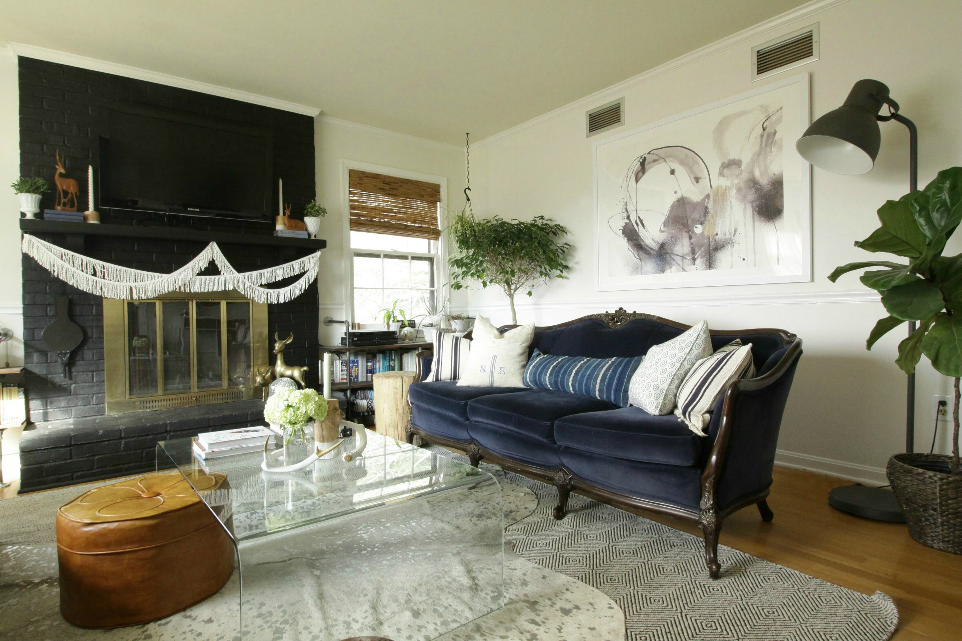 Living Room Art From Minted Eclectic Black Fireplace Modern Boho
