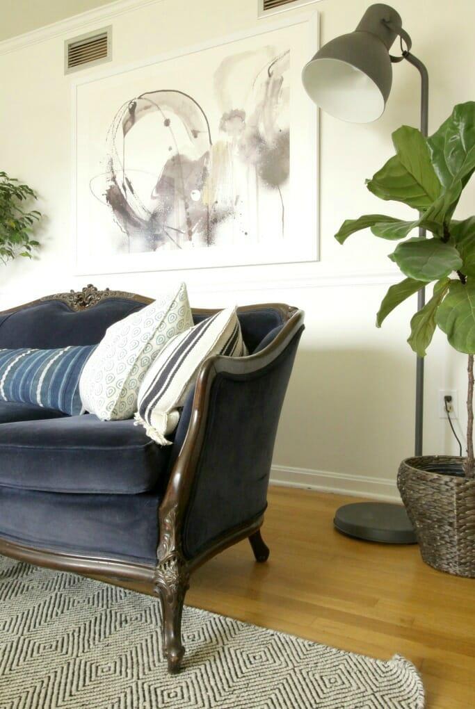 Vintage Blue velvet Sofa, Eclectic Living Room, Modern Art, Fiddle Leaf Fig, Industrial Floor Lamp