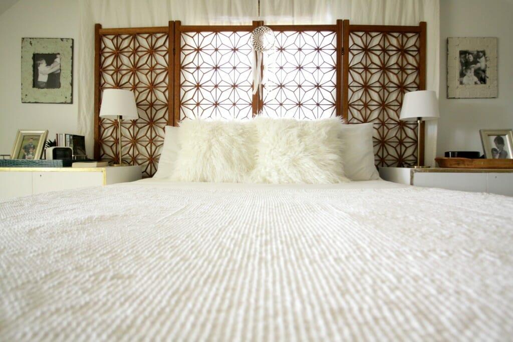 Memory Foam Matress- Whote Wood Boho Bedroom