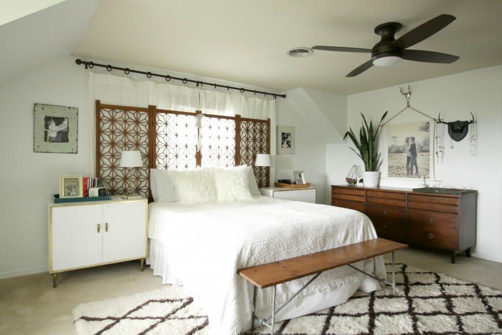 Modern Bohemian Bedroom with Lamps Plus Ceiling Light/Fan