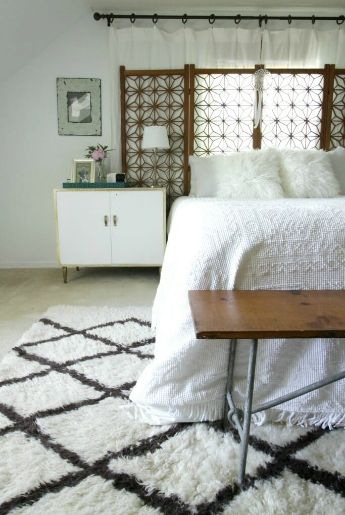 Modern Boho Master Bedroom in White & Wood & Gold
