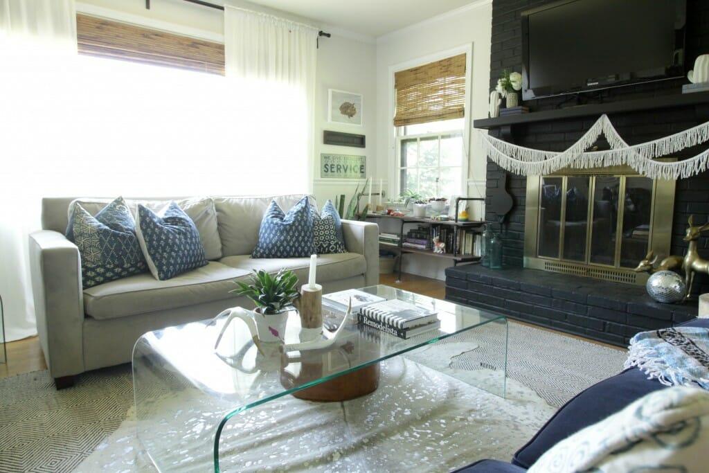 Indigo pillows on gray sofa