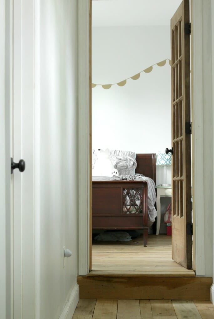 Salvaged French Door into girls room