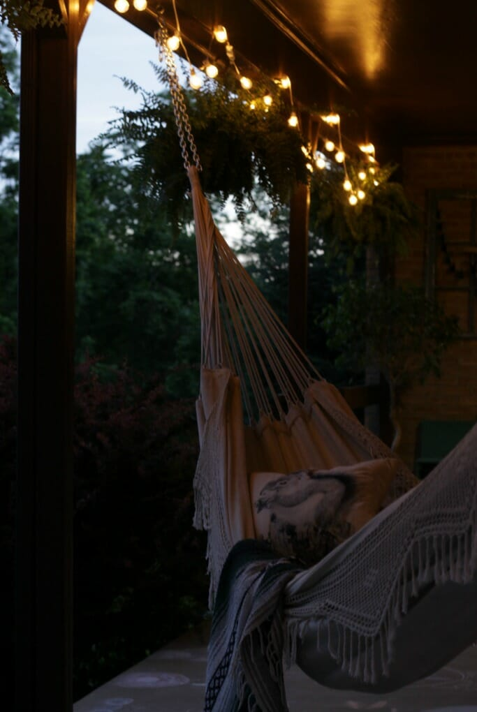 Hammock on porch at night