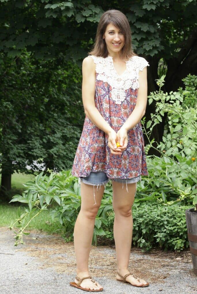 Crochet Trim Sleeveless tunic from Katie Grace