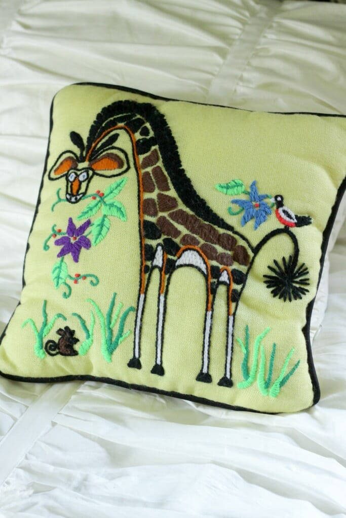 Vintage Giraffe Embroidered Pillow