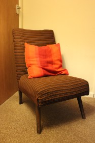 vintage orange and brown retro mid century modern arm chair