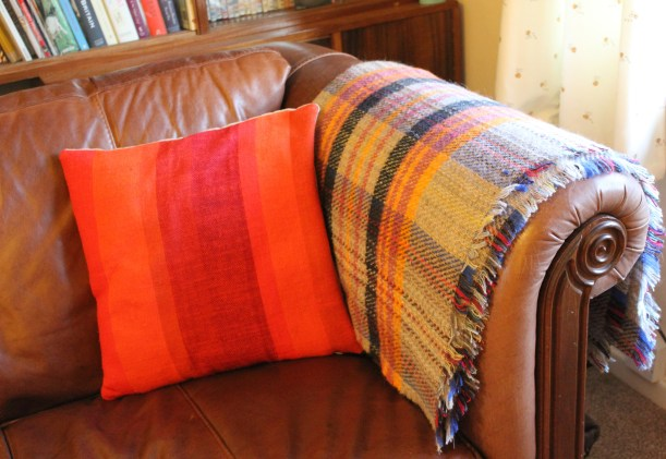 Orange Tweed Mill Blanket Knitted Wool Throw Tartan grey sofa retro dralon cushion 60s 70s