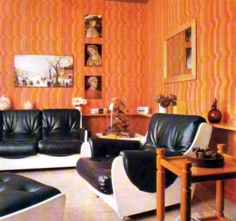 retro 70s living room wallpaper striped orange yellow vintage