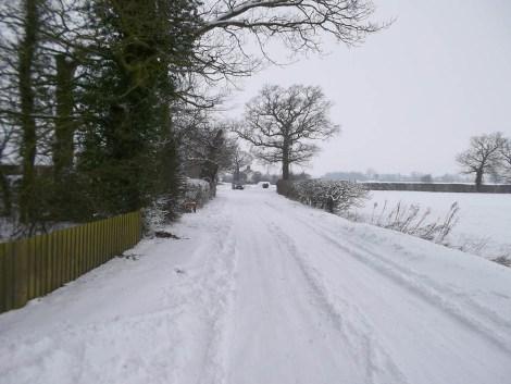 snow scene road uk weather england snowy icy ice