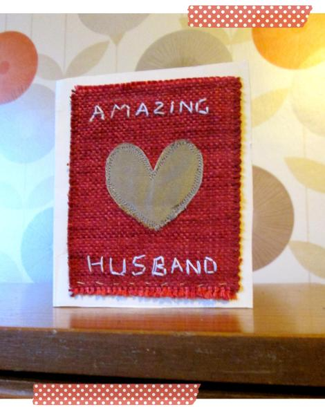 valentines day craft sewing card with stitched lettering and heart motif