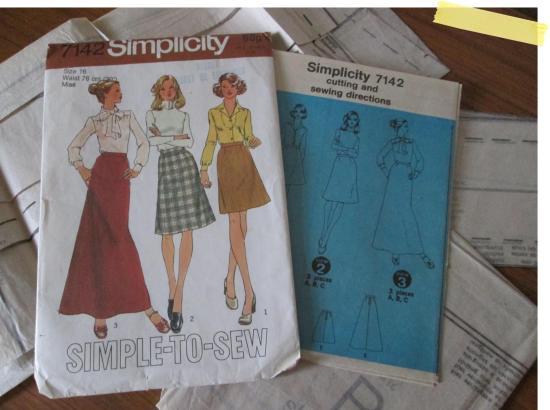 simplicity skirt pattern retro dressmaking sewing diy kit charity shop