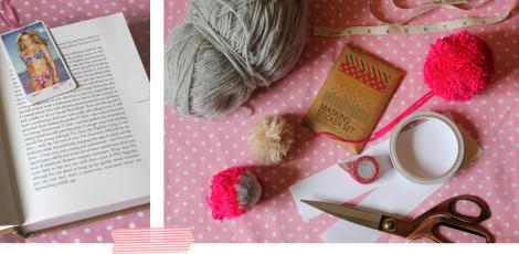 pom pom bookmarks what you will need - scissors card wool thread washi tape