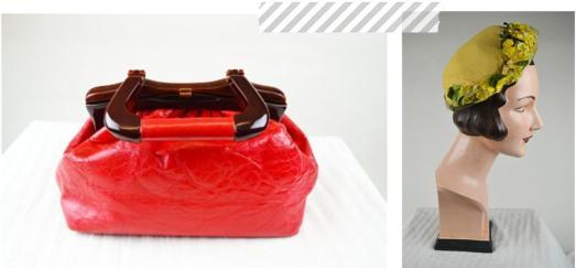 Summer 2013 vintage accessories red coral bag and floral hat from Mela Mela