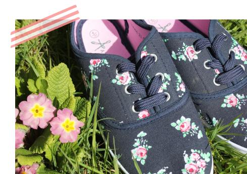 tuesday shoesday - navy and pink floral primark pumps three quid bargain