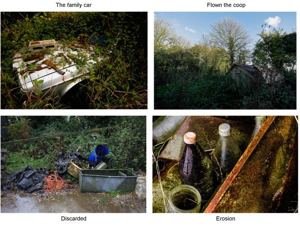 claire lacey man v nature images erosion family car flown the coop discarded
