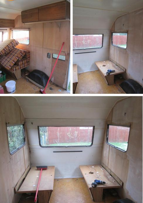 cassiefairys vintage caravan project interior clearing out