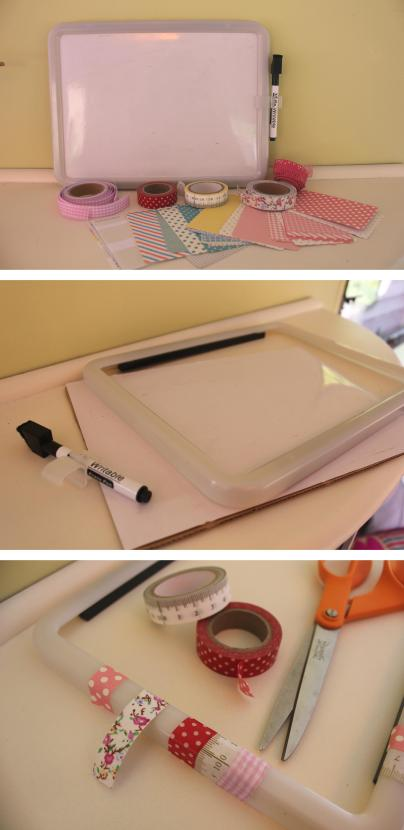 craft DIY upcycle washi tape whiteboard photo frame by cassiefairy