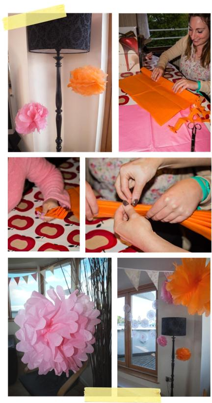 making tissue paper pompom decorations for a vintage hen party by laceyinplaces